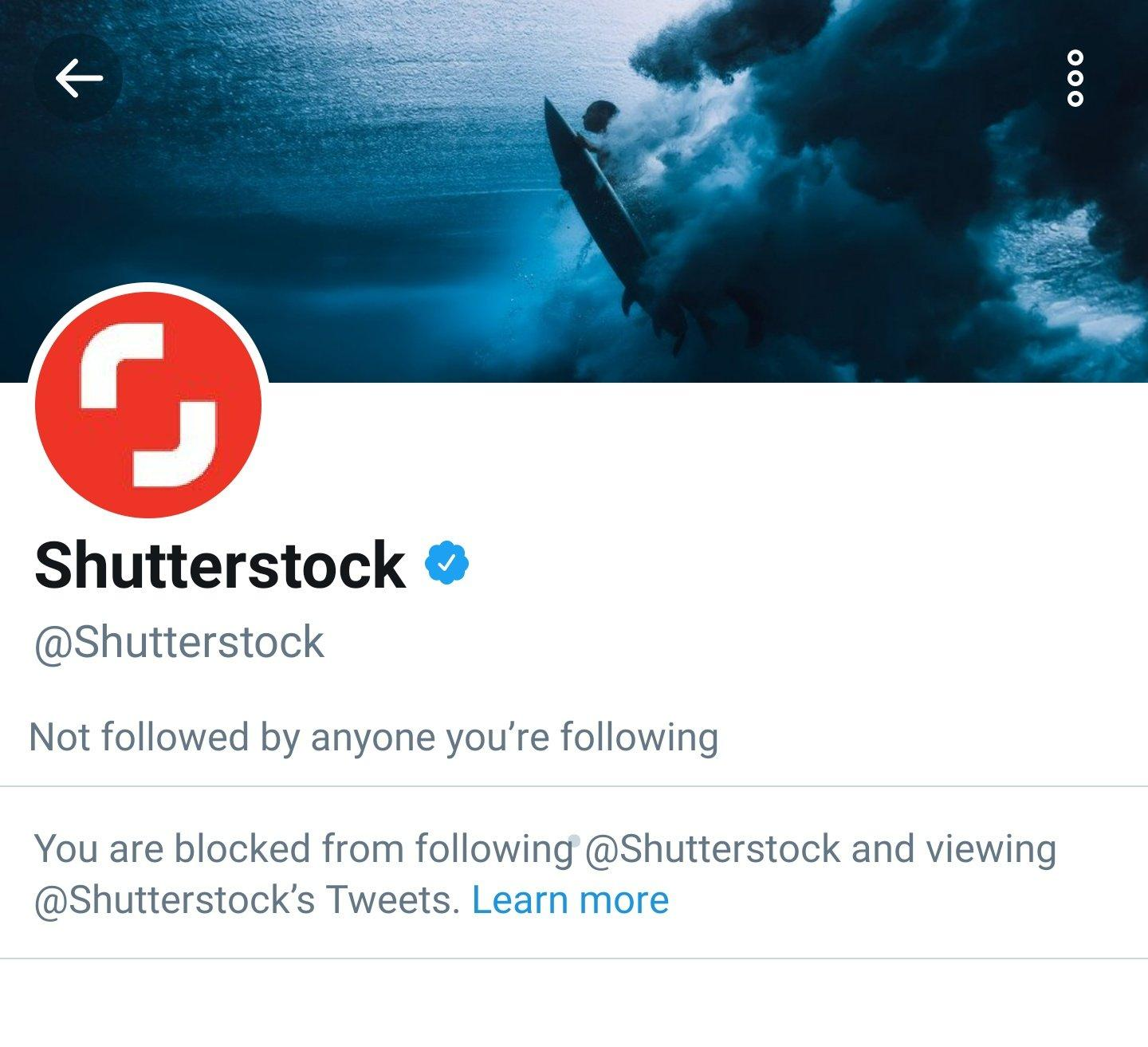 Screenshot of shutterstock blocking my account since I talk about their censorship in china